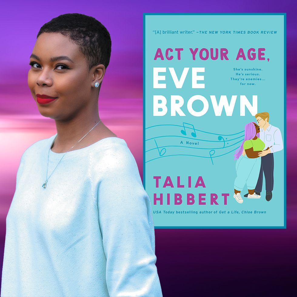 Image features the author Talia Hibbert, brown skin with short hair and red lips. She is smiling. Image also features a copy of the book, Act Your Age, Eve Brown. A man and woman embrace. Text on the book os in purple and white